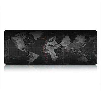 Black Extended World Map Gaming Mouse Pad Keyboard Pad Full Desk Mat 80X30CM