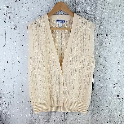 NOS Pendleton Ivory Wool Cable Knit Button Up Sweater Vest Men's S ~ Made in USA