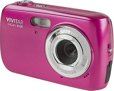 "VIVITAR VIVICAM S126 COMPACT DIGITAL CAMERA 16MP 4X ZOOM 1.8"" 16MP 720p HD PINK"