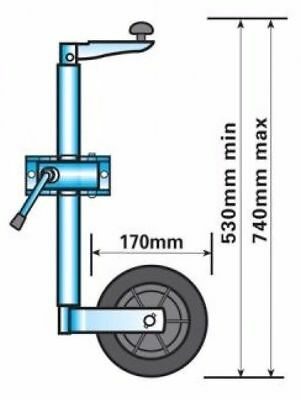 Maypole Jockey Wheel (34 mm) with Clamp MP225 Trailer Towing