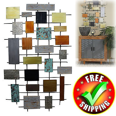 LARGE METAL SCULPTURE Abstract Modern Geo Wall Art Contemporary ...