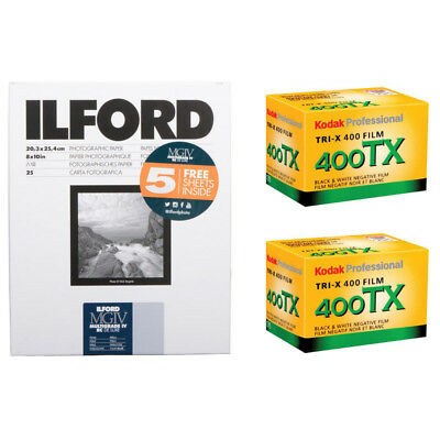 "Ilford Multigrade IV RC Deluxe Paper 8 x 10"" Pearl 30 Sheets + 2 Rolls TX-36"