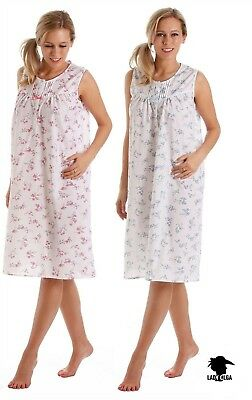 LADIES POLY COTTON FLORAL SLEEVELESS NIGHTDRESS NIGHTIE BY LADY OLGA Size 10-32