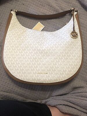 3084dec09c Nwt Authentic Michael Kors Lydia Large Mk Signature Hobo Bag-Vanilla