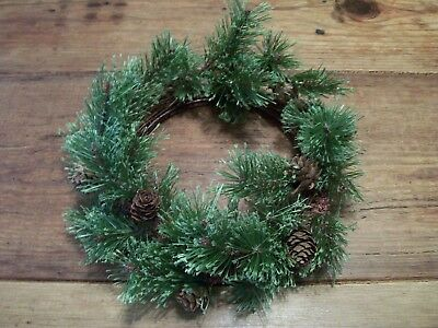 """CHRISTMAS WREATH - ARTIFICIAL GREENS and PINECONES - Small -  7"""" across"""