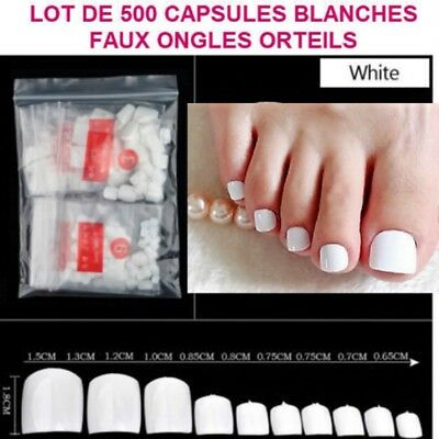Lot 500 Capsules Tips Blanc Faux Ongle Orteil Pied Pedicure Gel Vernis Ong089