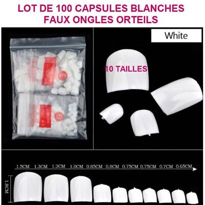 Lot 100 Capsules Tips Blanche Faux Ongle Orteil Pied Pedicure Gel Vernis Ong091