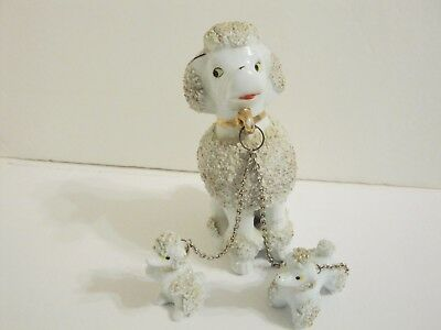 VINTAGE CALIFORNIA CREATIONS by BRADLEY WHITE SPAGHETTI POODLE FIGURINES