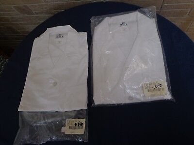 "(2) New Fundamentals by Meta, 3 Pocket White Men's 38""; Lab Coat size Med."