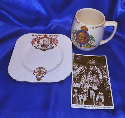 King Edward VIII Coronation May 1937 Memorabilia Collection Cup, Postcard, Dish