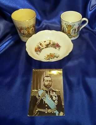 King George V Memorabilia Collection - 2 Cups, 1 Bowl, & 1 Post Card