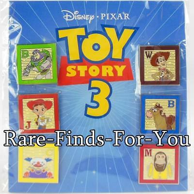 Disney Parks Pixar Toy Story 3 Booster Pack 6-Pin Set Buzz Woody More NEW/SEALED