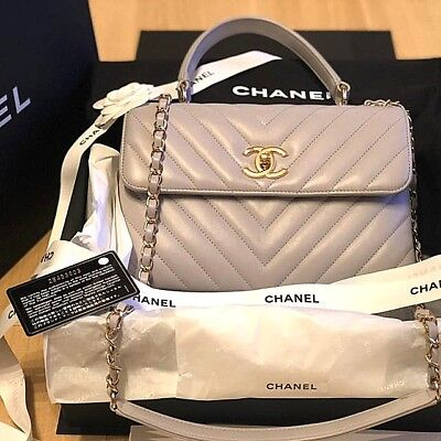 90734430c8d4 Authentic CHANEL Coco Handle Chevron Hand Bag Light Grey Flap Lambskin 2018