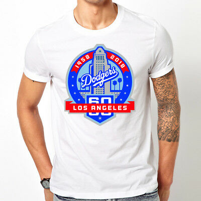 Mens Los Angeles Dodgers 60Th Anniversary Baseball Patch Style Graphic T  Shirt 896fd8d652d