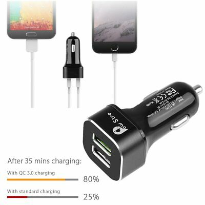 Powstro QC3.0 Car Charger Dual USB Fast Charging w/LED Light for Nexus iPhone CA