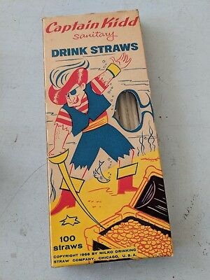 Captain Kidd Drinking Straw Paper Vintage Milko Drinking straw co Chicago