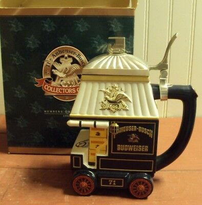 """1998 Budweiser """"early Delivery Days"""" Beer Stein In Original Box"""