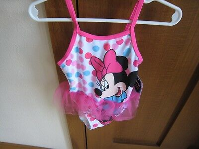 Disney Junior Minnie Mouse Girl's 12M Pink Tutu One Piece Swim Suit New!