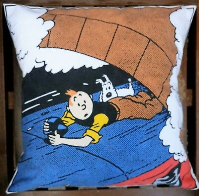 """TINTIN HOLDS ON"" THE BLACK ISLE CUSHION - VINTAGE FRENCH COTTON 15 x 15 ins"