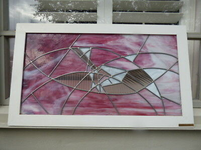 Stained Glass Window Panel White Star Vintage Large Pink