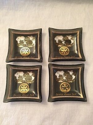 Vintage Set of 4 Rotary International Glass Square Trays - Service Above Self