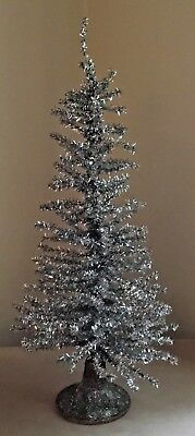 Vintage Style Silver Tinsel Tabletop Christmas Tree 24 With Wood Base