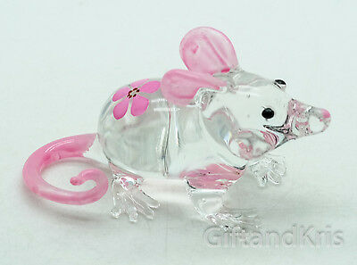 Figurine Animal Hand Blown Glass Pink Flower Rat Mouse Mice - GPRA004