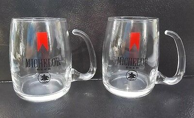 2 Vintage Michelob Clear Glass Open Handle Beer Mugs Made By Libbey Glass Inc.