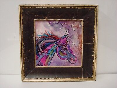 Colorful Horse Head Ceramic Art Tile SIGNED Lilly in wood frame