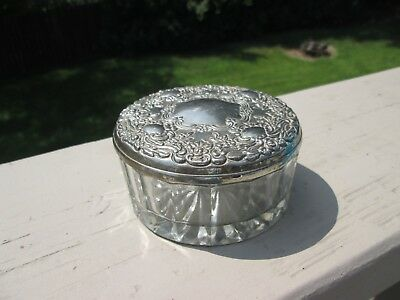 Vintage, Lead Crystal, Silver Plated Lid with Mirror.  Powder Dish/Trinket Dish.