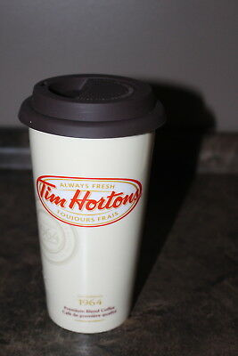 Tim Hortons Coffee Mug Travel Travel Take-out Cup Ceramic with soft rubber lid