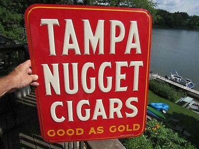 Original 1962 Tampa Nugget Cigars Embossed Tin Lithograph Advertising Sign