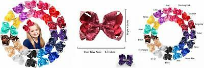 CELLOT 16 Pcs 6 Inch Hair Bows Baby Girls Toddlers Alligator Clips Solid...