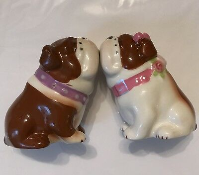 Kissing Magnetic Bulldog Salt & Pepper Shakers Painted Ceramic Boy Girl Dogs