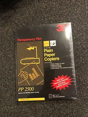 3M PP2500 Plain Paper Copier Transparency Film 50 Count NEW SEALED