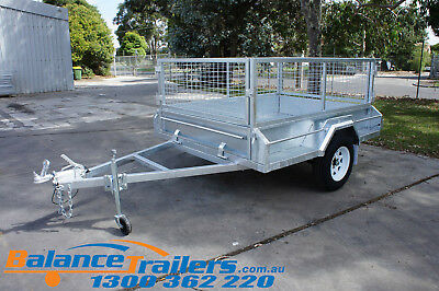 7x5 Galvanised Fully Welded Box Trailer With 600mm Cage & Brake ATM1400KG