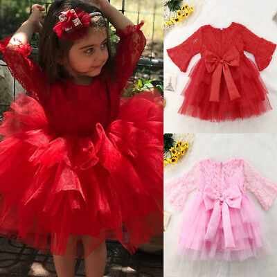 Xmas Baby Girl Princess Dress Kids Party Wedding Pageant Lace Tutu Tulle Dresses