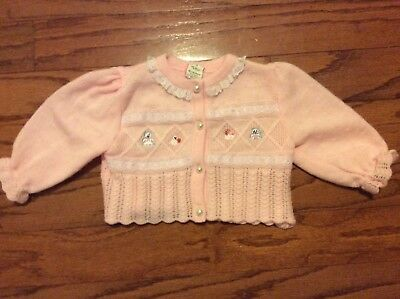 Vintage Infant Girl pink knit Sweater 6-9 months Made in the Philippines