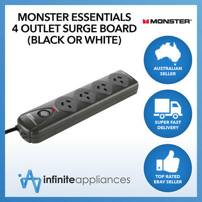 Monster Essentials Surge Protected 4 Outlet Fireproof Power Board