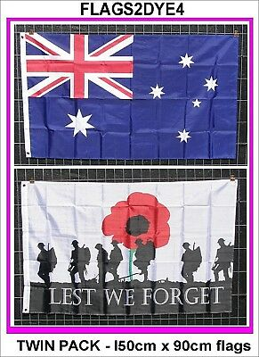 Lest we forget flag poppy flag + Australian flag for ANZAC NAVY ARMY AIR FORCE