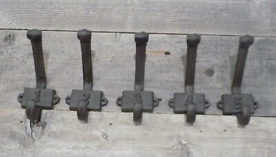 5 Numbered Cast Iron Rustic School Style Coat Hooks Hat Hook Hall Tree School