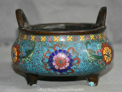 "6"" Qianlong Marked Antique Chinese Cloisonne Bronze Flower Handle Incense Burner"