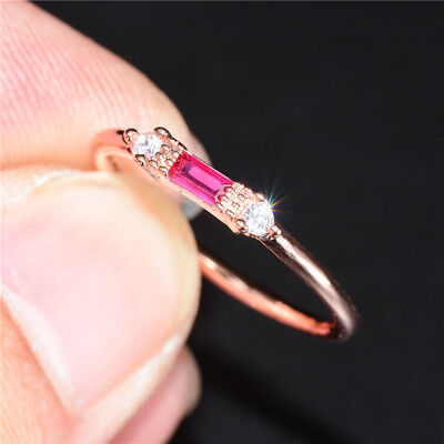 Elegant Women's Wedding Rings Rose Gold Filled Jewelry Ruby Ring Size 6-10