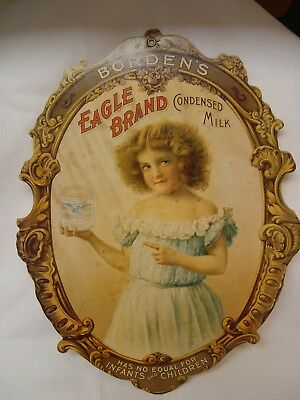 Antique Die-Cut Lithograph Cardboard Borden's Eagle Brand Condensed Milk Sign