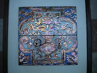 Pair Of Ramos Rrejano Wall Tiels Inlayed With Copper