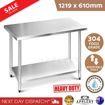 304 Stainless Steel Work Bench Food Prep Grade Commercial Kitchen Table 1219mm