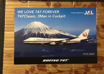 "Rare! Japan Airlines Classic Boeing 747 Retirement Sticker 7""x5"" 2009 Mt Fuji"