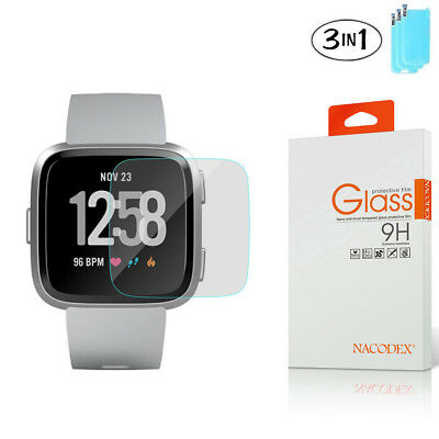 3-Pack Nacodex For Fitbit Versa Tempered Glass Screen Protector