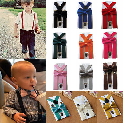 UK Matching Braces Suspenders and Luxury Bow Tie Set Kids Children Boys Wedding