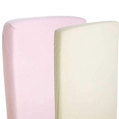 2x Fitted Sheets Compatible With Snuzpod Bedside Crib 100% Cotton - Cream/Pink-B